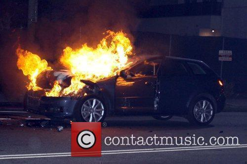 Caught on fire after a collision on La...