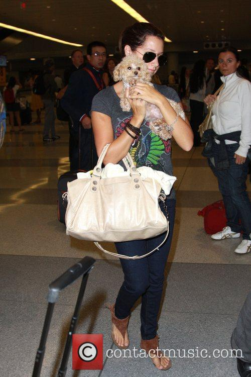 Ashley Tisdale and her dog Maui arriving at...