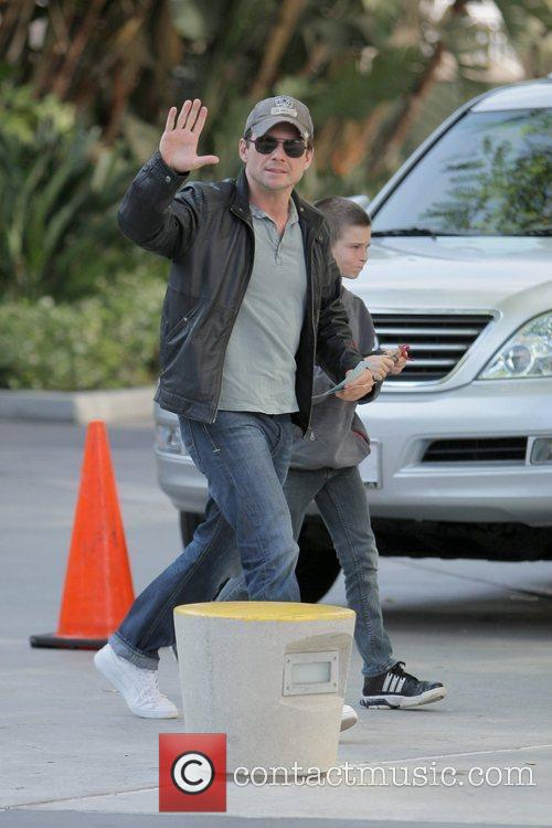 Christian Slater and son Jaden arriving at the...