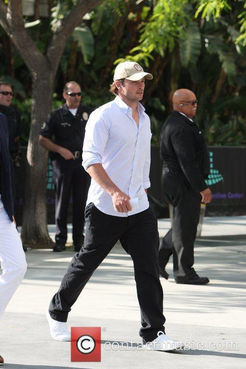 Tom Welling arriving at the first game of...