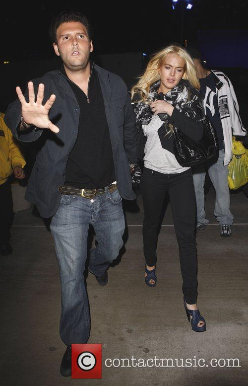 Lindsay Lohan leaves the Staples Center after watching...