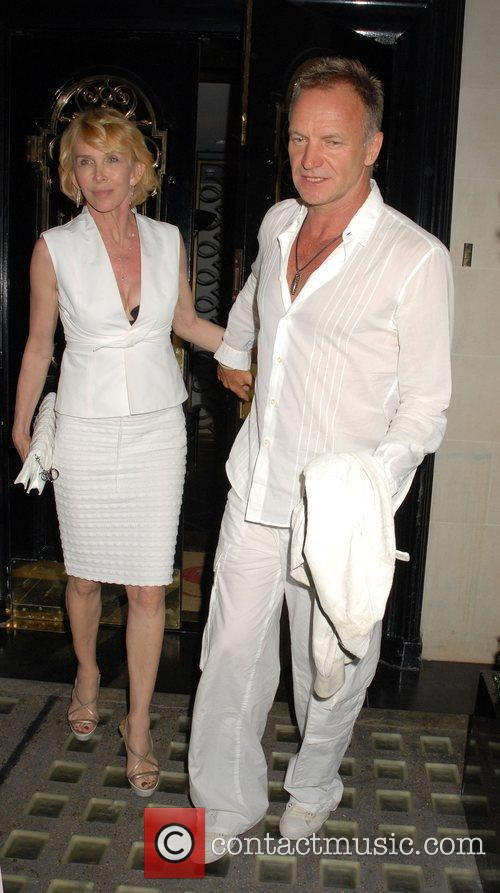 Sting and Trudie Styler leaving Scott's Restaurant together...