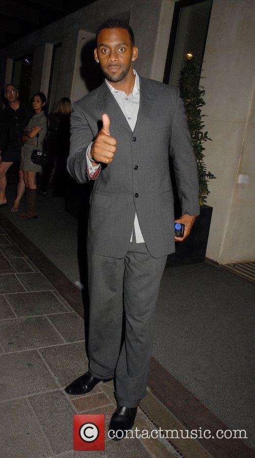 Richard Blackwood leaving the Mayfair Hotel in the...