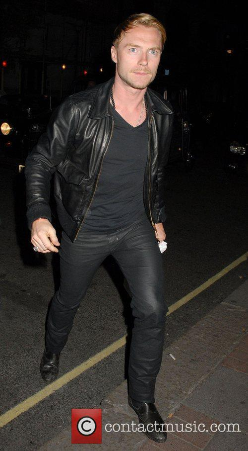Ronan Keating leaving the Mayfair Hotel in the...