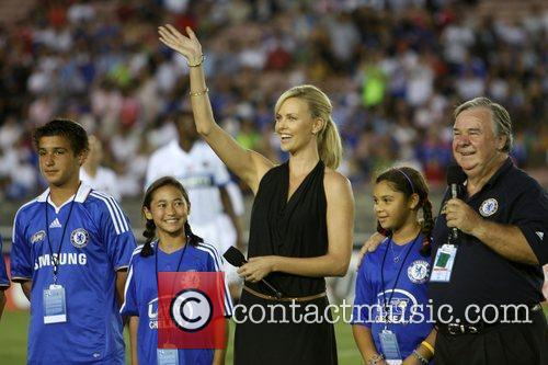 Charlize Theron Chelsea v Inter Milan at the...