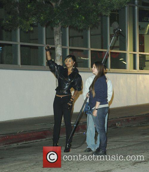 Keri Hilson on the set of a music...