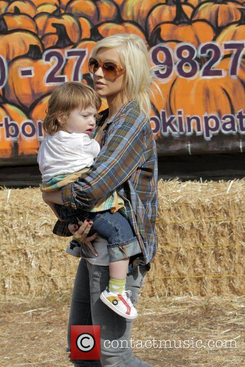 Singer Christina Aguilera  takes her son Max...