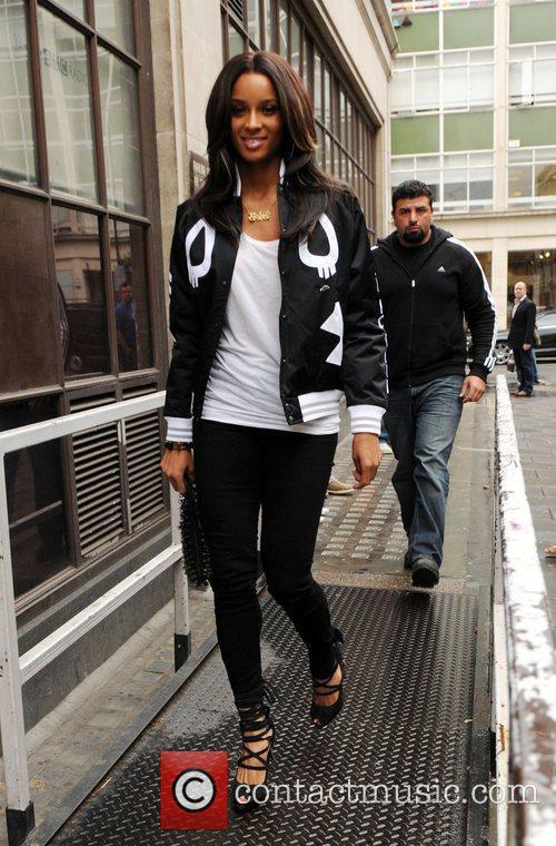 Ciara arrives at the BBC Radio 1 studios...