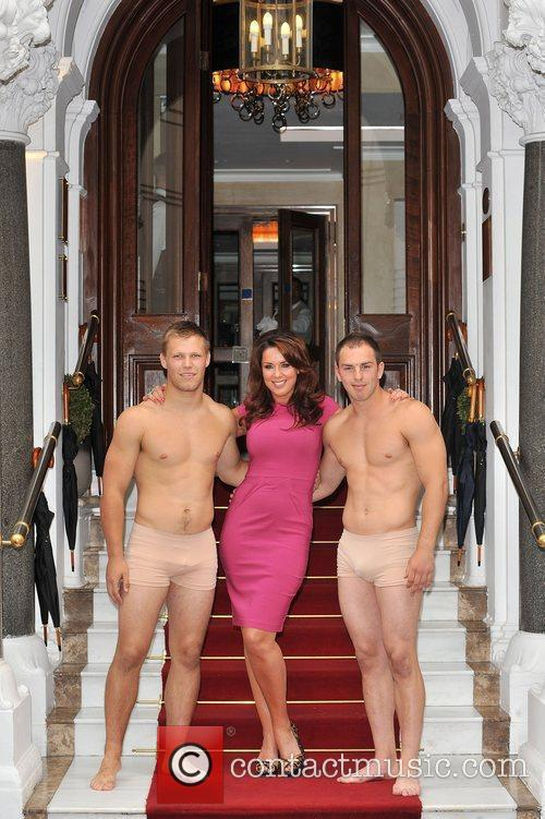 Claire Sweeney with with two Harlequin Rugby Players,...