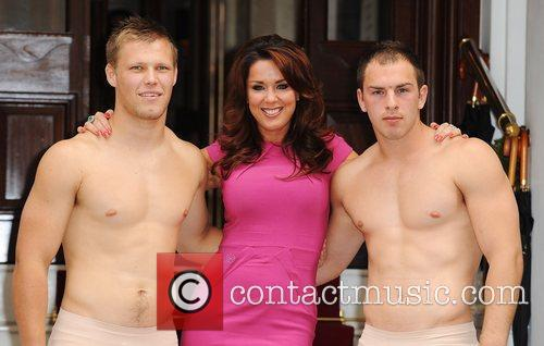 Claire Sweeney, with Harlequin Rugby Players Loui McCarthy...