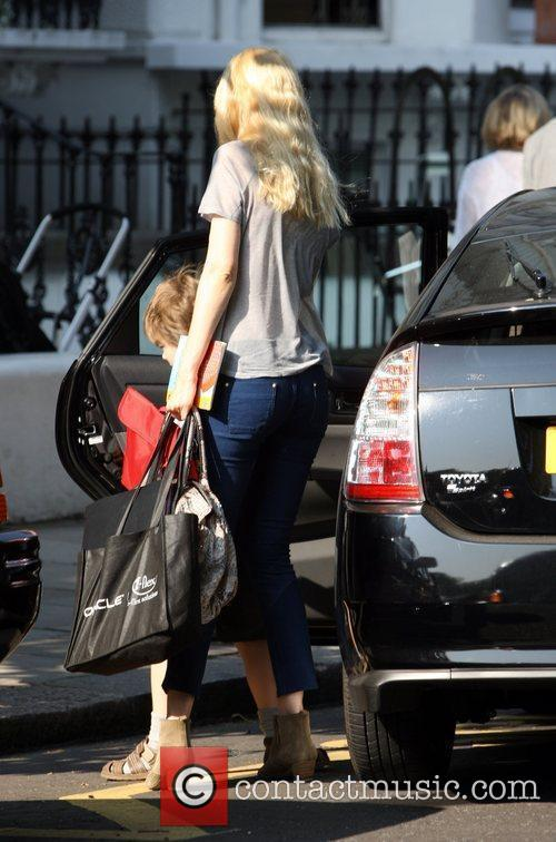 Claudia Schiffer takes her children to school London,...