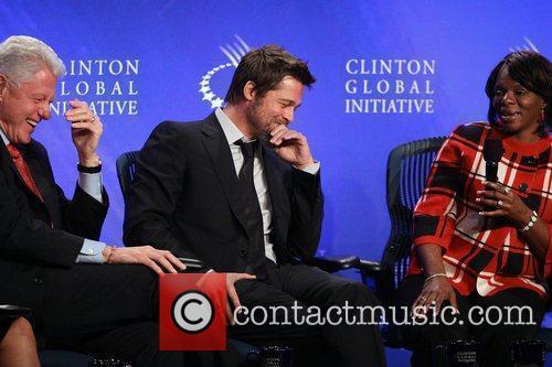 Bill Clinton and Brad Pitt at the Clinton...