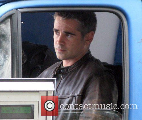 Colin Farrell filming a scene for his latest...