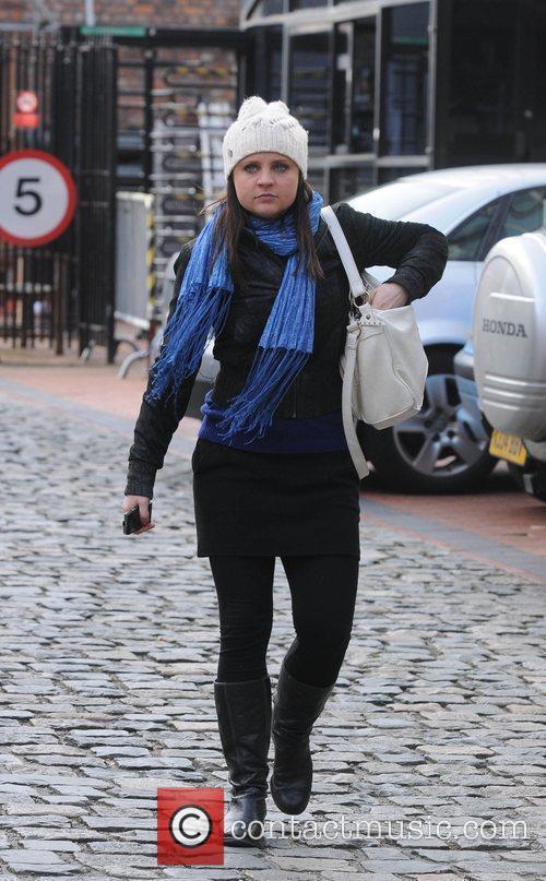 Coronation Street soap stars leaving Granada Studios.