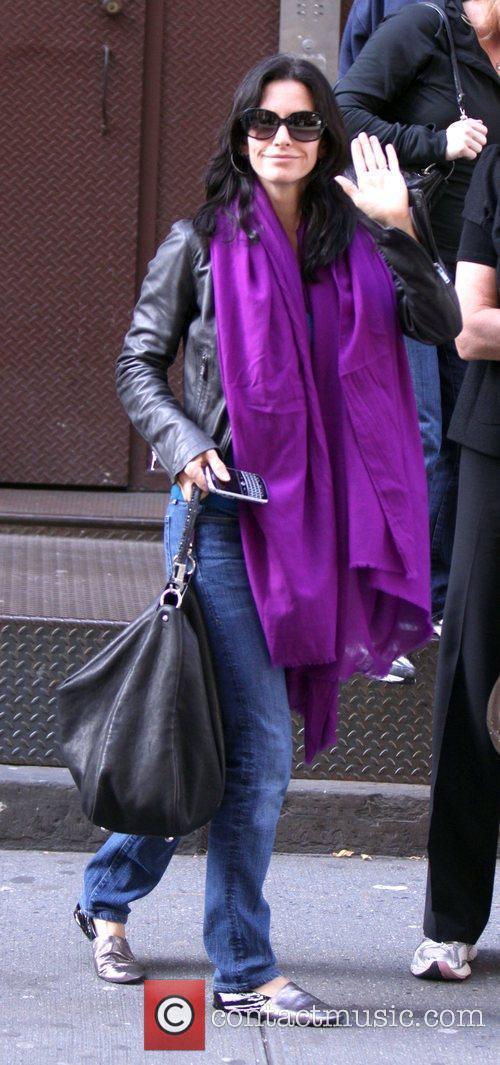 Courteney Cox  walks down Mercer Street...