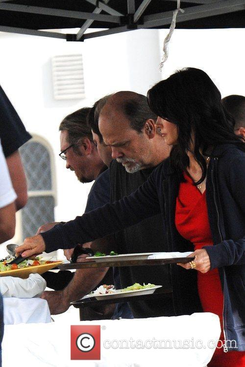 Courteney Cox Arquette and crew members have lunch...