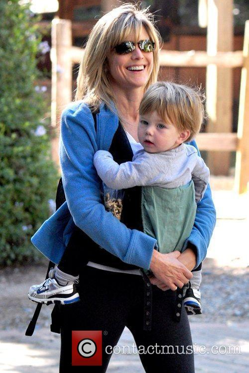 Hiking with her son, Jake Fishman, in Brentwood
