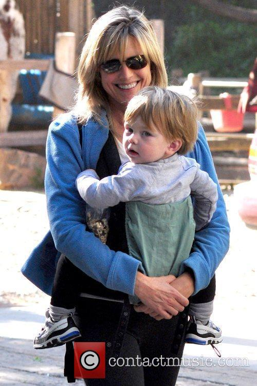 Courtney Thorne-Smith hiking with her son, Jake Fishman,...