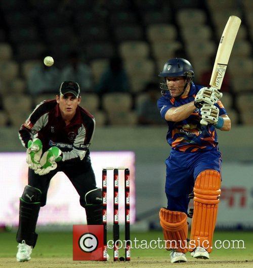 Diamond Eagles Batsman Morne van Wyk in action...