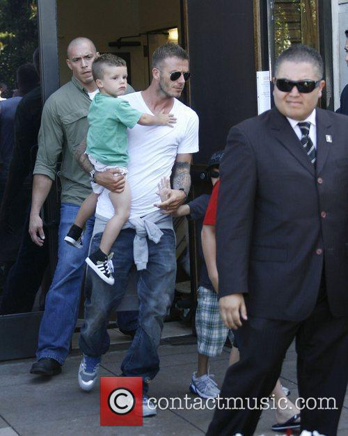 David Beckham shopping with his children in Hollywood