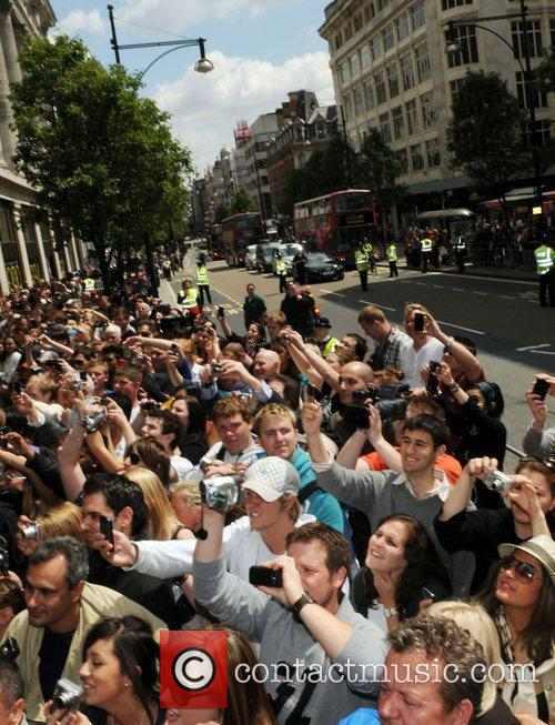 Crowds outside as David Beckham makes an in-store...
