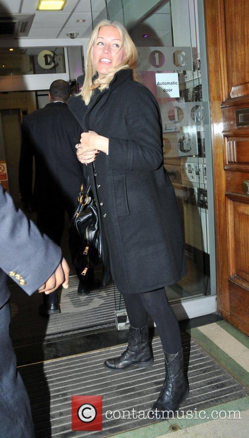 Pregnant Denise Van Outen arrives at Radio One...