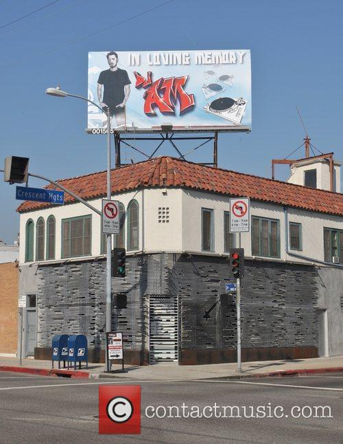 A billboard tribute to DJ AM, who died...