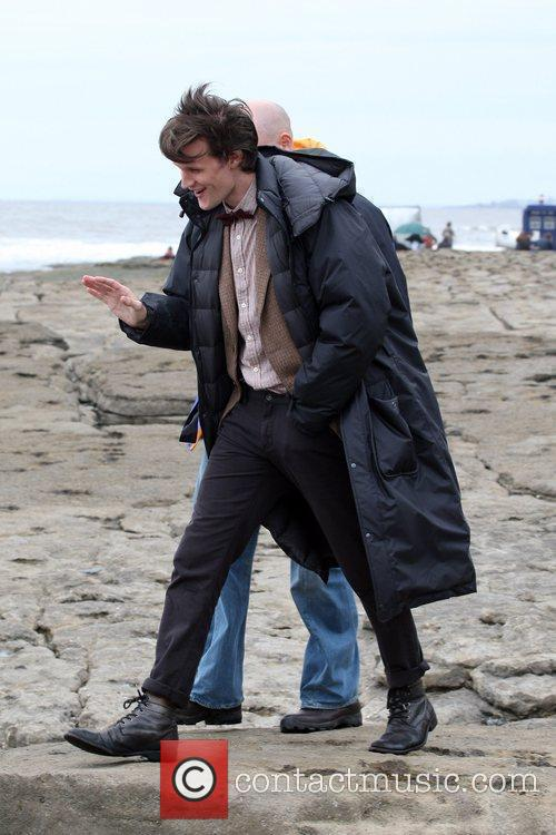 Matt Smith between takes while filming on location...