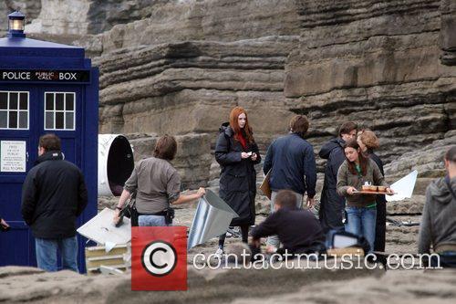 Karen Gillan between takes while filming on location...