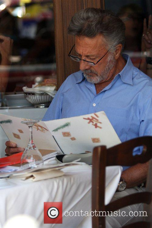 Dustin Hoffman  seen having lunch at Il...