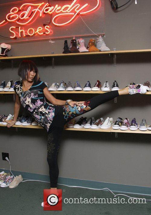 Bai Ling visits the Ed Hardy Shoe Warehouse...