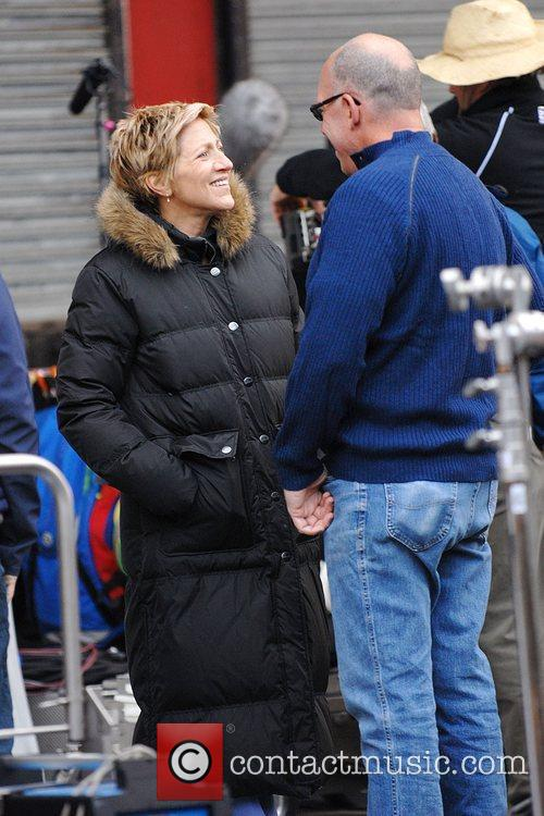 Edie Falco during a break from filming her...