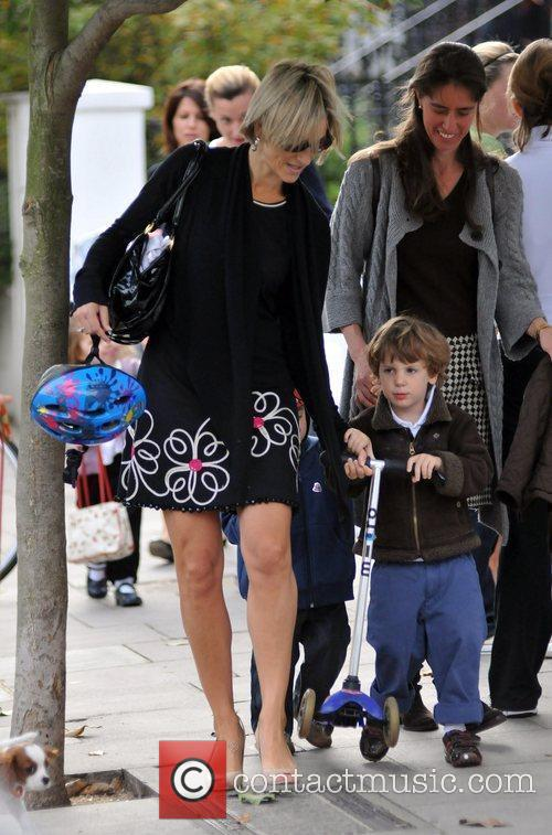 Emily Maitlis drops her son off at school...