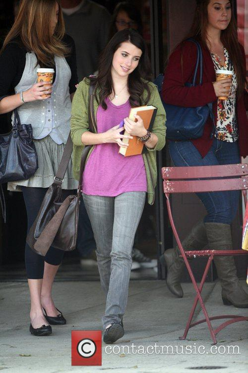 Emma Roberts filming on the set of her...