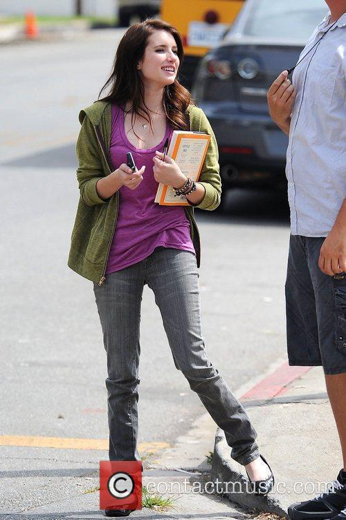 Emma Roberts on the set of 'Valentine's Day'...