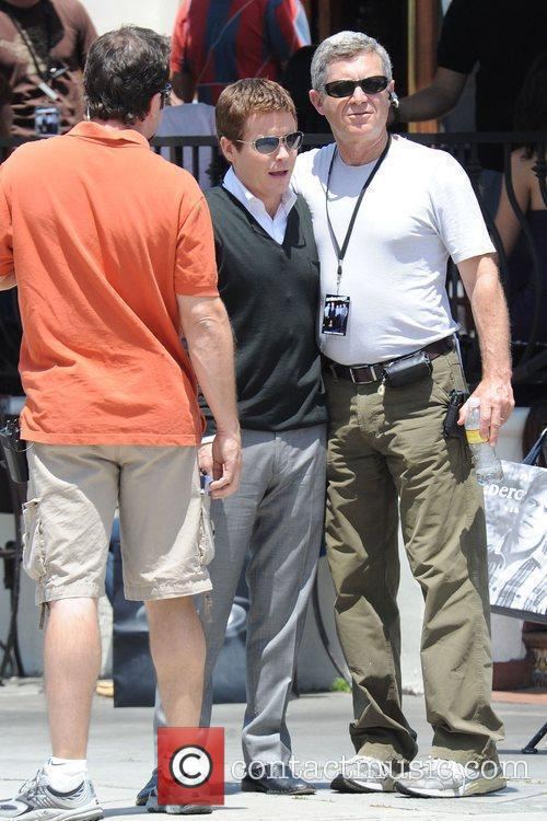 Cast members of 'Entourage' filming a scene at...