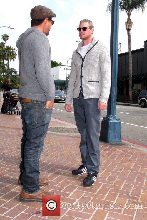 Eric Dane seen chatting to a friend while...