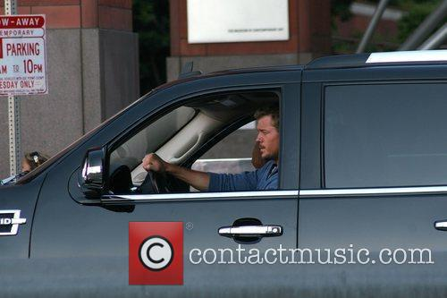 Eric Dane filming on location outside the Museum...