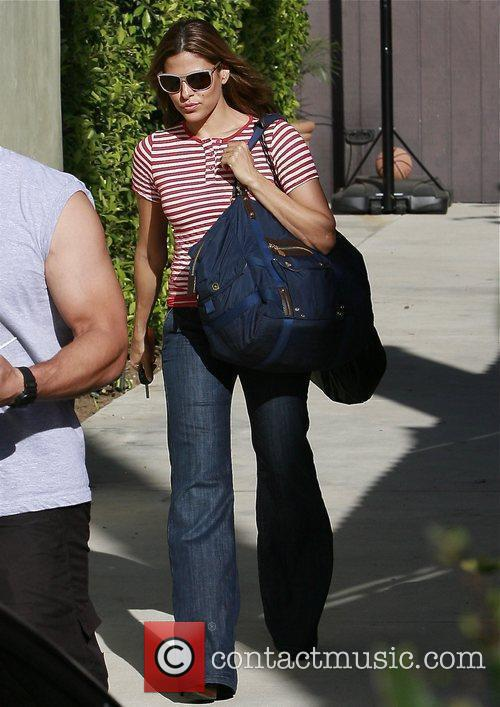 Eva Mendes leaving her gym in West Hollywood...
