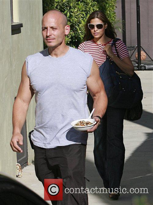 Eva Mendes leaving her gym with her personal...