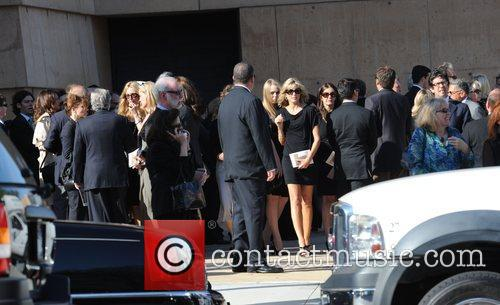 Marla Maples  attends the funeral service for...