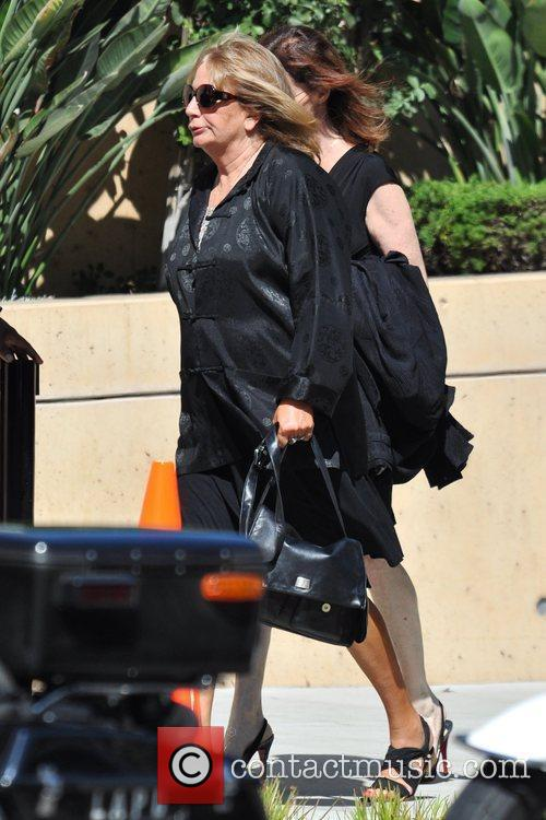 Penny Marshall arrives at the funeral services for...