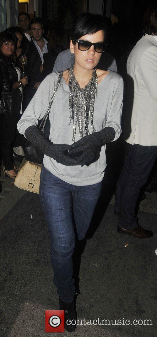 Lily Allen leaving the Form launch party held...