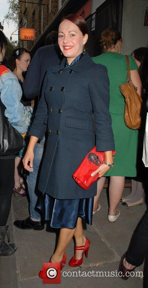 Sarah Cawood outside the 'FrostFrench' summer drinks soiree...