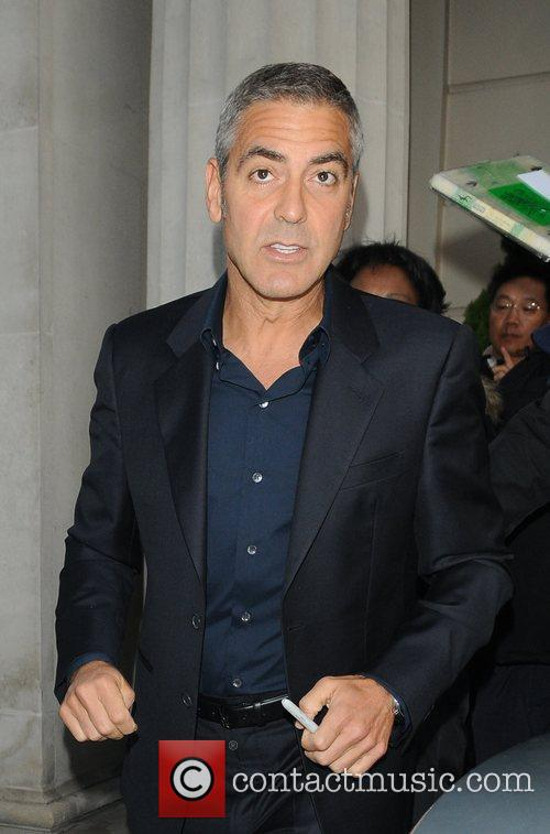 George Clooney outside the Mayfair Hotel London, England
