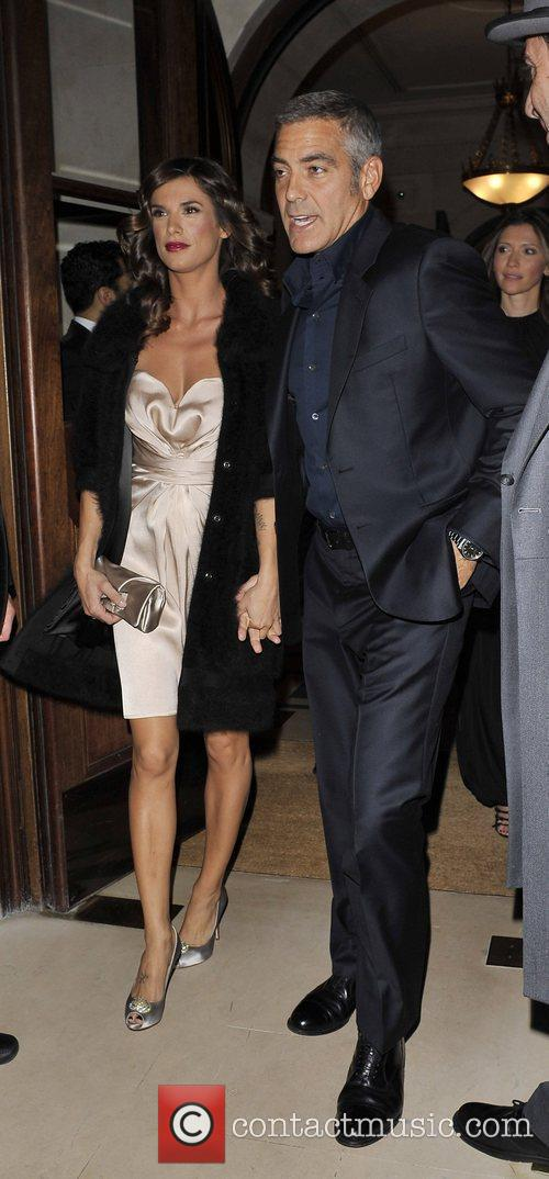 George Clooney and girlfriend Elisabetta Canalis  outside...
