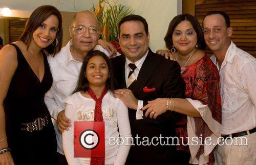 Latin singer/bandleader Gilberto Santa Rosa  backstage with...