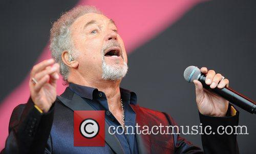 Tom Jones performing at the 2009 Glastonbury Festival...