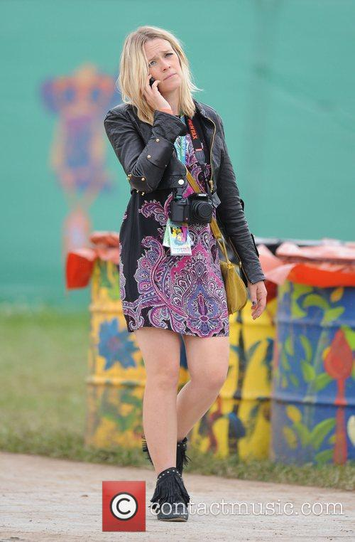Edith Bowman backstage at the 2009 Glastonbury Festival...