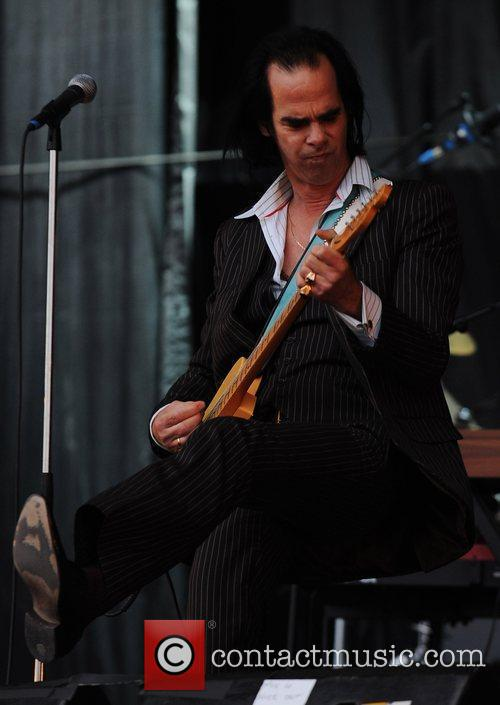 Nick Cave performing at the 2009 Glastonbury Festival...